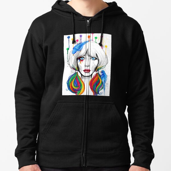 Zooey - Twisted Celebrity Watercolor Zipped Hoodie