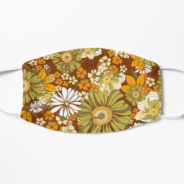 70s Retro Vintage Flower Power pattern Flat Mask