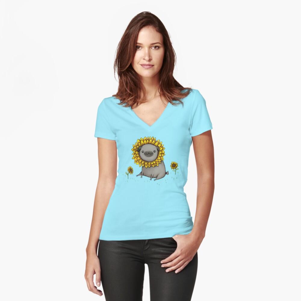 Pugflower Fitted V-Neck T-Shirt