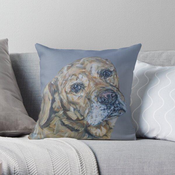 Drifter. Golden Labrador dog art painting by award-winning UK artist Sam Fenner. Throw Pillow