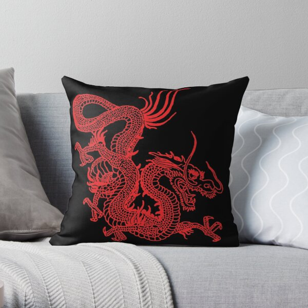 Red Chinese Dragon Throw Pillow