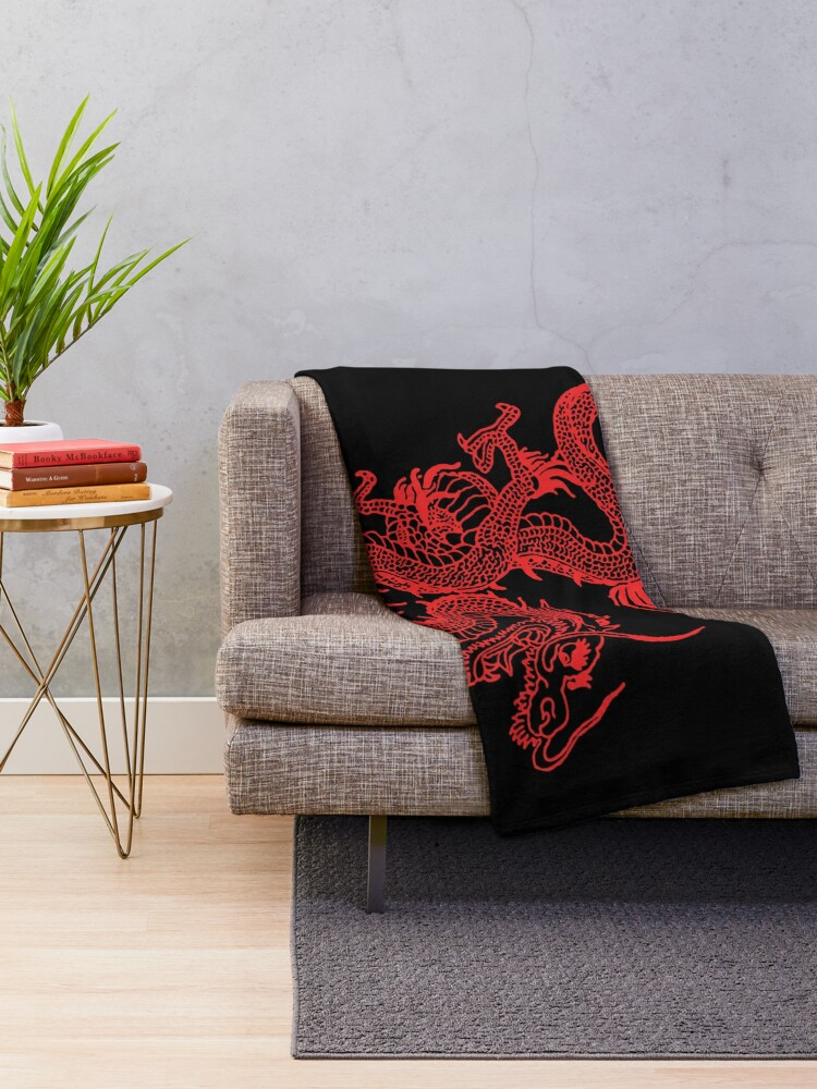 Alternate view of Red Chinese Dragon Throw Blanket