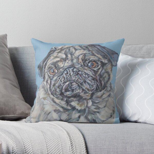 Percy Blue. Pug dog painting art by award-winning UK artist Sam Fenner Throw Pillow