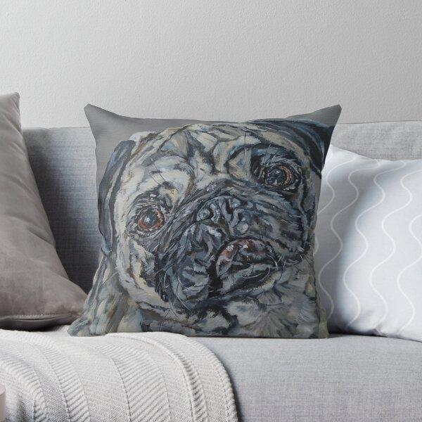 Percy Grey. Pug dog painting art by award-winning UK artist Sam Fenner Throw Pillow