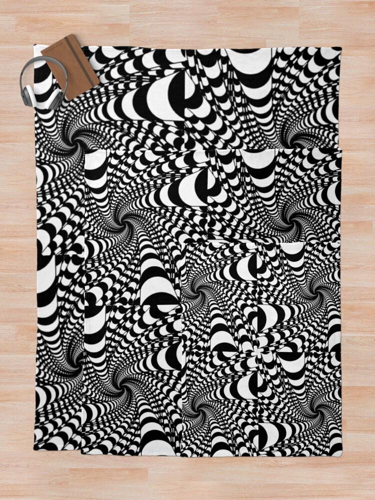 Alternate view of black and white illusion Throw Blanket