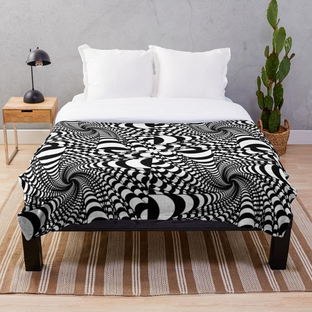 black and white illusion Throw Blanket