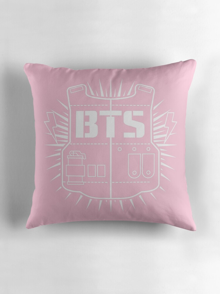 "BTS Baby Pink Logo Pillow"" Throw Pillows by Ihatebronti"