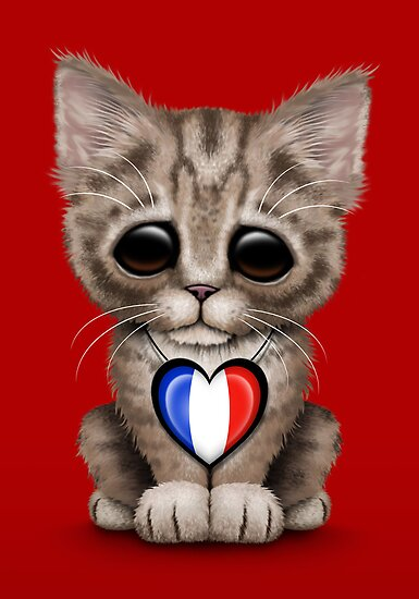 Quot Cute Kitten Cat With French Flag Heart Quot Posters By Jeff