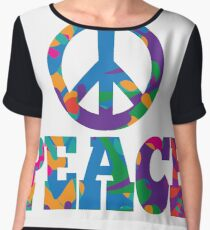 Sixties style mod pop art psychedelic colorful Peace text design Women's Chiffon Top