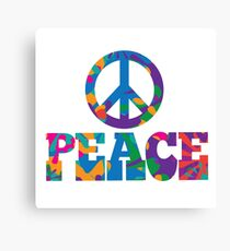 Sixties style mod pop art psychedelic colorful Peace text design Canvas Print