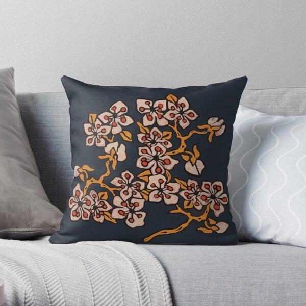 Golden Blossom on navy Throw Pillow