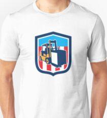 Forklift Truck Materials Logistics Shield Retro T-Shirt