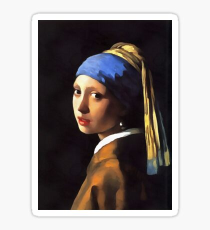 Girl with a Pearl Earring After Johannes Vermeer Sticker