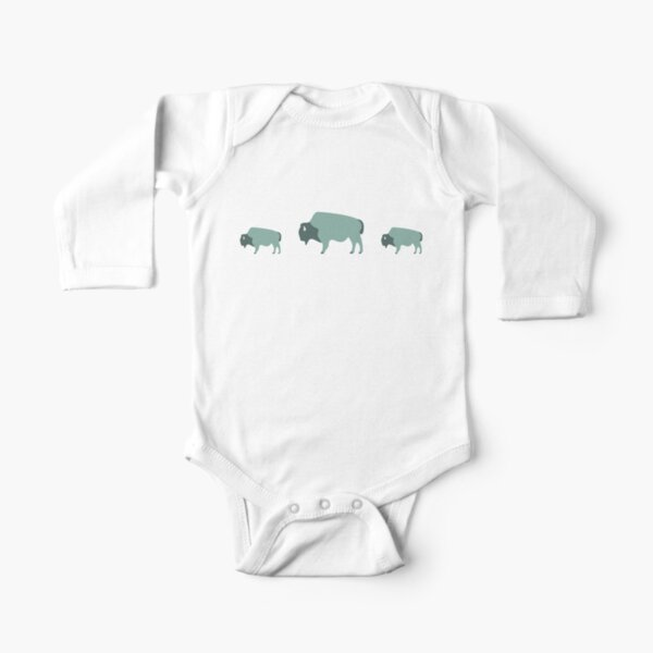 Bison And Baby (Moss) Long Sleeve Baby One-Piece