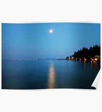 Sirmione (Italy) - Moonlight on water Poster