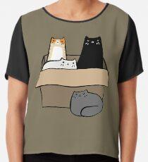 Cats in a Box Chiffon Top
