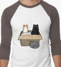 Cats in a Box Men's Baseball ¾ T-Shirt