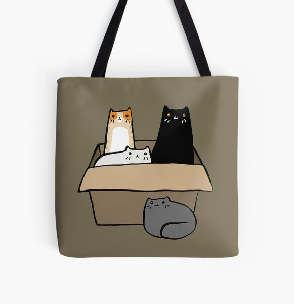 Cats in a Box All Over Print Tote Bag