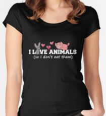 I love animals so I don't eat them  Women's Fitted Scoop T-Shirt