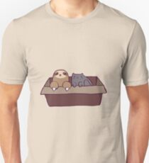 Sloth and Cat in a Box T-Shirt