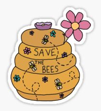 save the bees honey pot Sticker