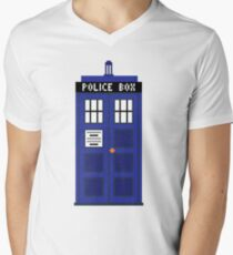 8-Bit TARDIS Men's V-Neck T-Shirt
