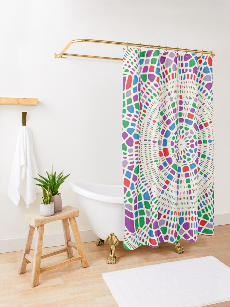 Alternate view of Colorful Doily Pattern Shower Curtain