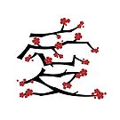 Chinese 'Ai' Love Red Sakura Cherry Blossoms With White Branches by fatfatin