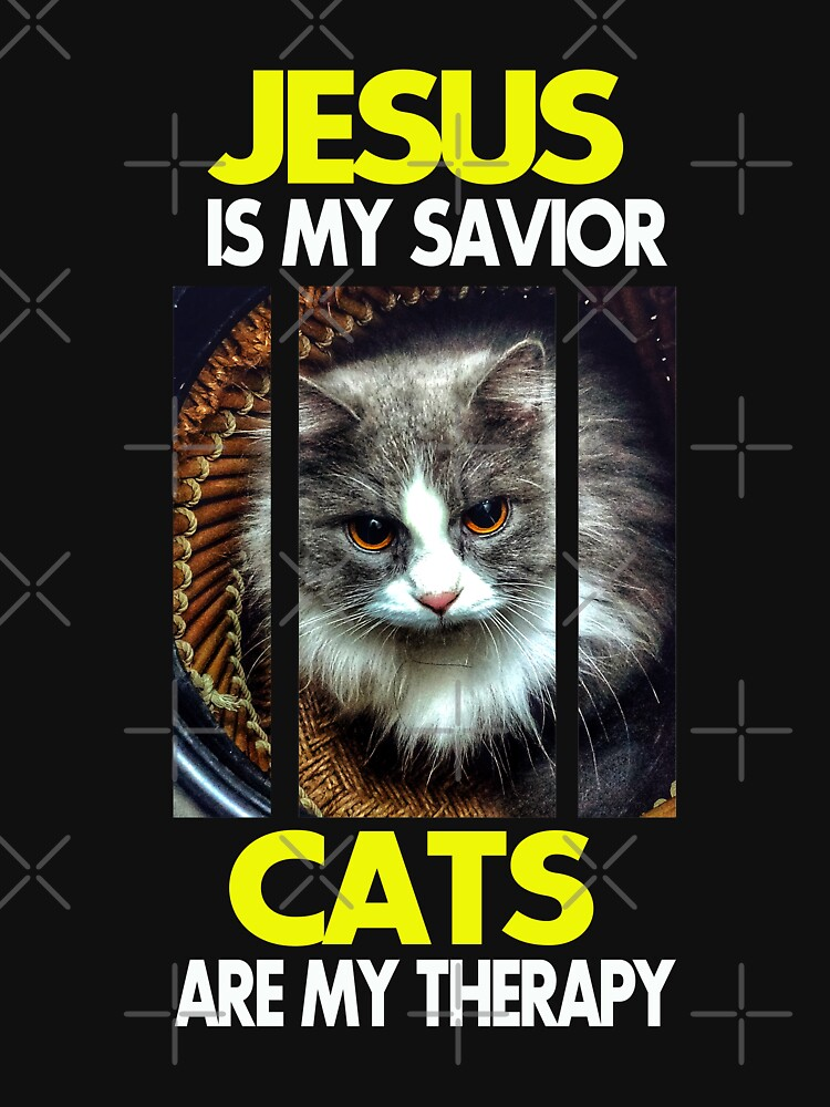 Jesus is my Savior Cats are my therapy (Yellow and White font) by rojuagustin30