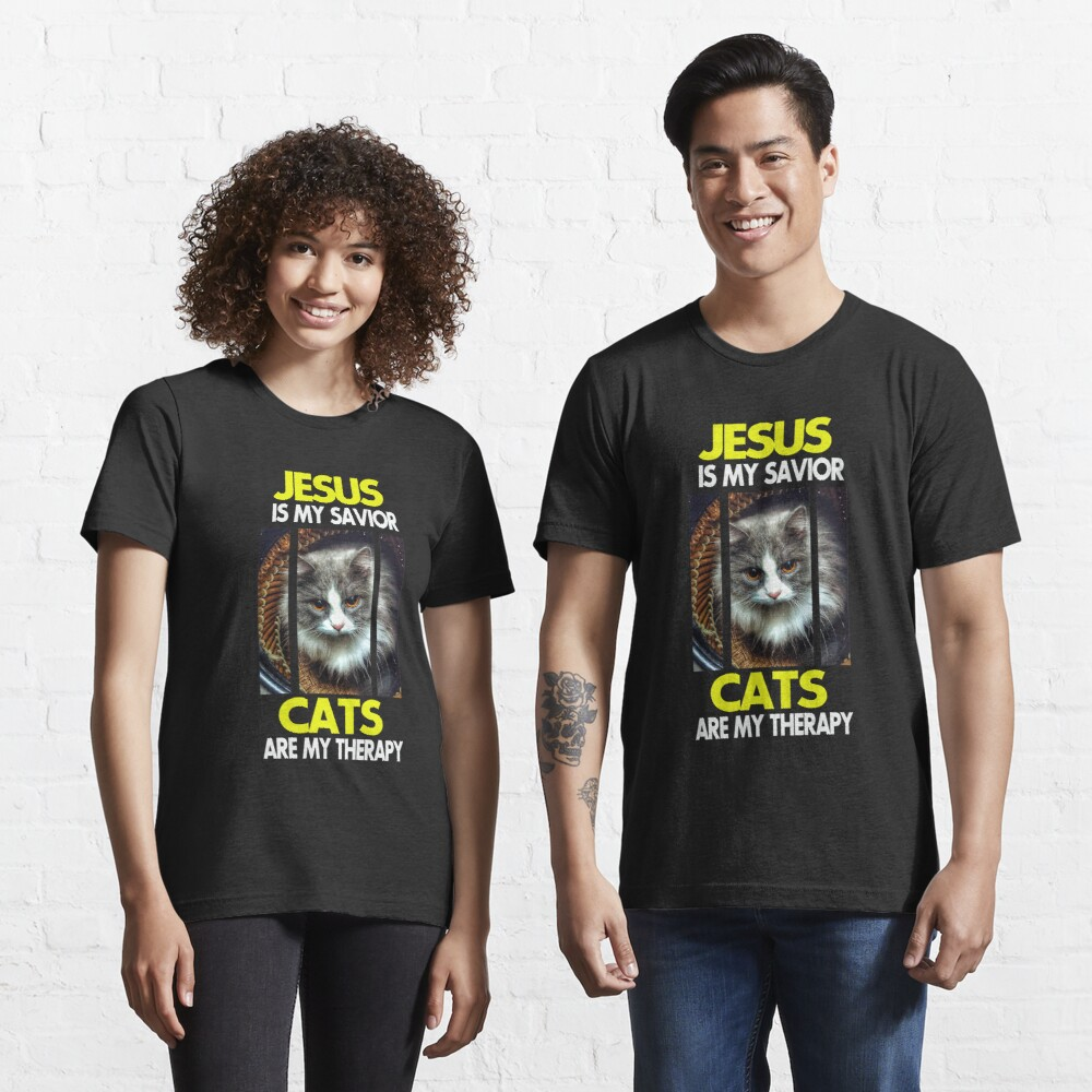 Jesus is my Savior Cats are my therapy (Yellow and White font) Essential T-Shirt