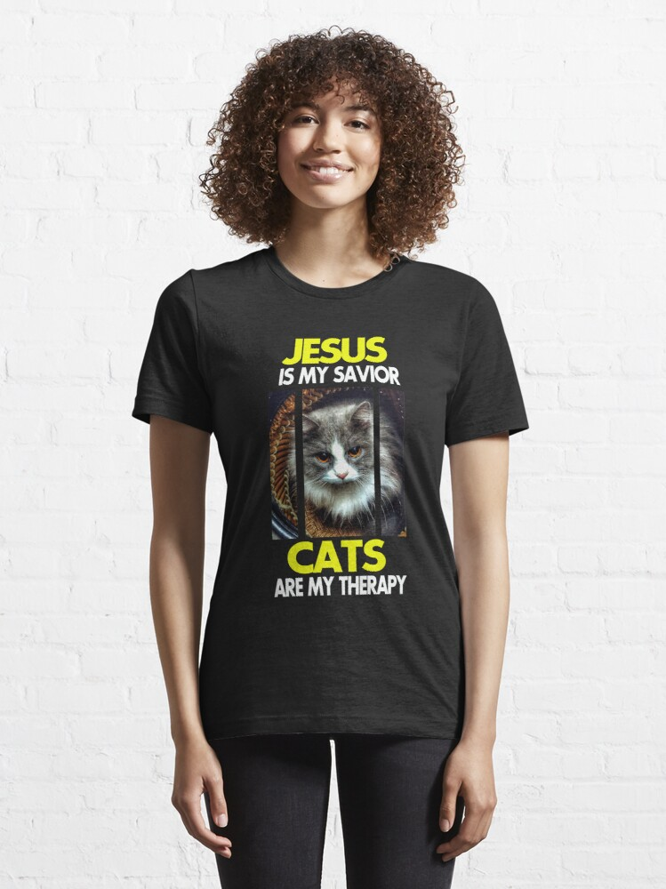 Alternate view of Jesus is my Savior Cats are my therapy (Yellow and White font) Essential T-Shirt