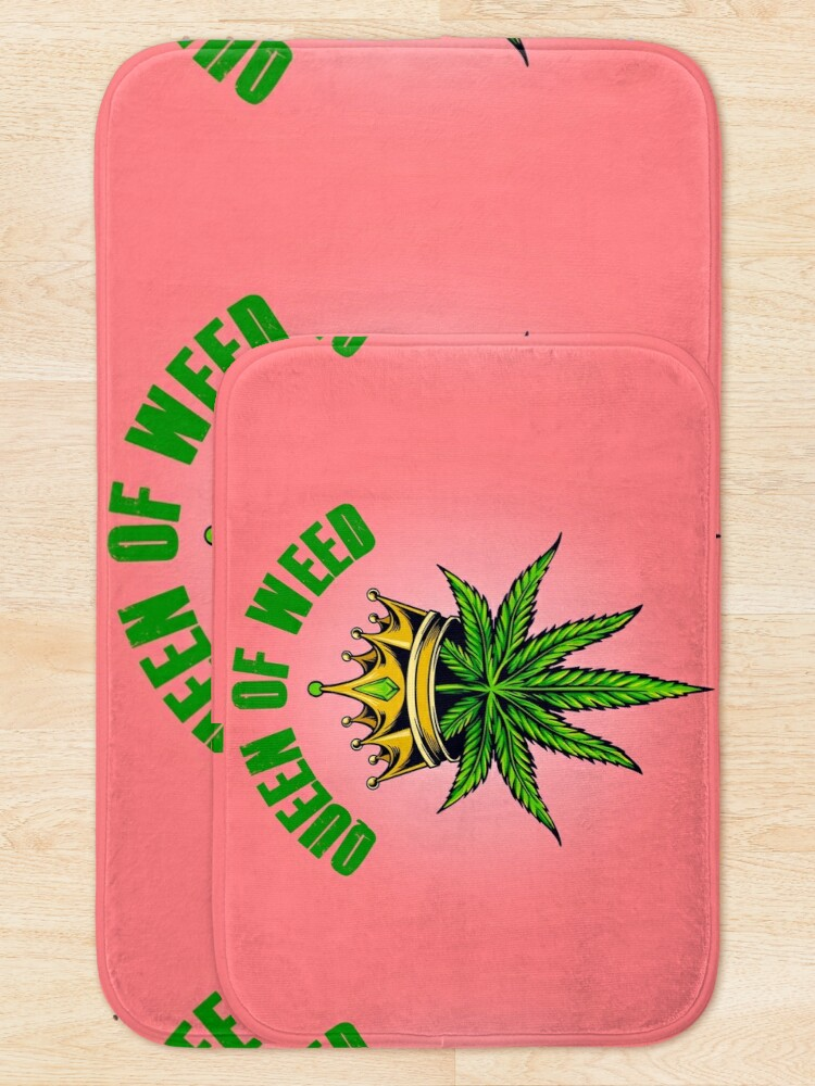 Alternate view of Queen of Marijuana - Long Live the Queen of Weed - Gold on Pink Bath Mat