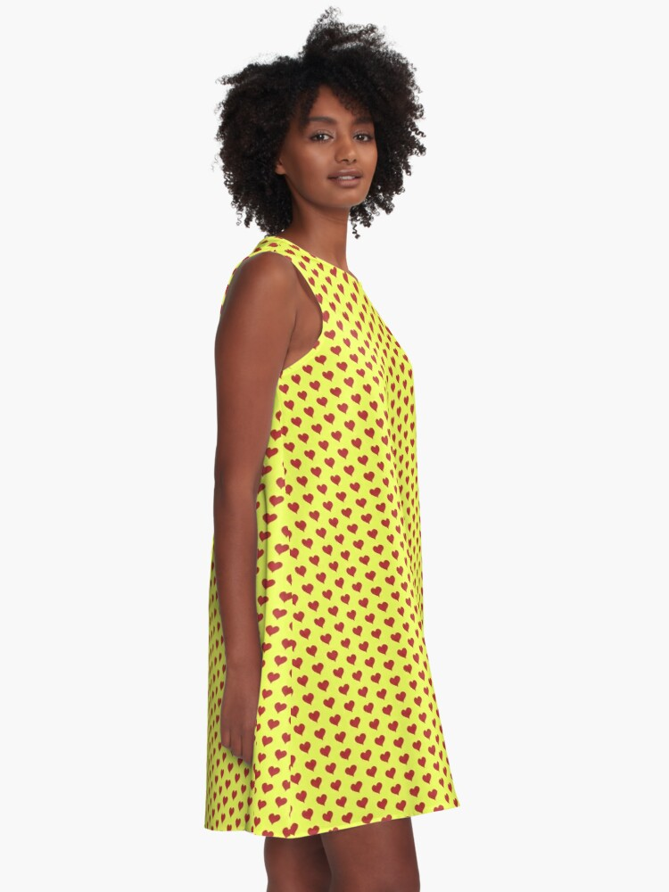 Alternate view of Red Heart pattern on Lime Yellow A-Line Dress