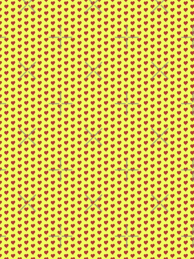 Red Heart pattern on Lime Yellow by whorajiv