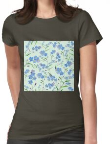 forget me not pattern in green background  Womens Fitted T-Shirt