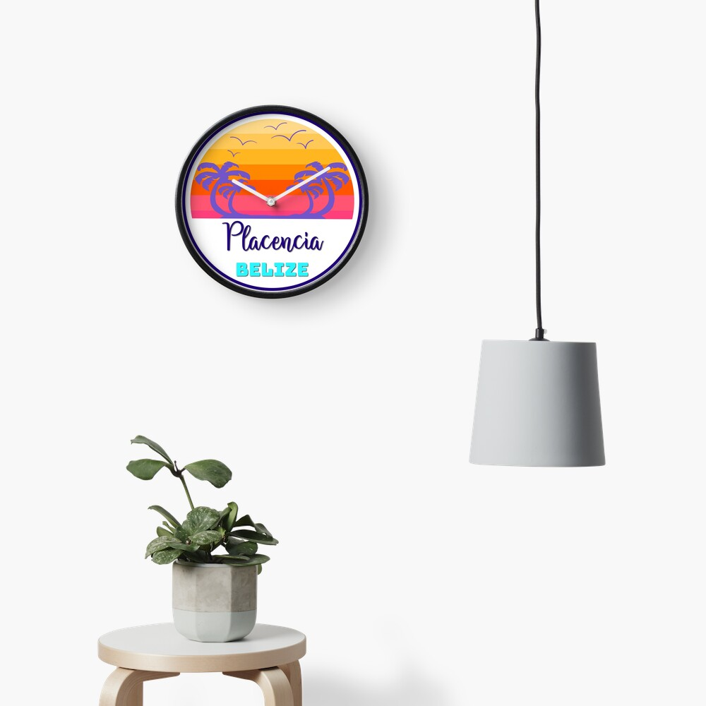 Placencia Belize Island Beach Sunset Palm Tree Outdoor Surfing Surf Cruise Vacation Gift Ideas Clock