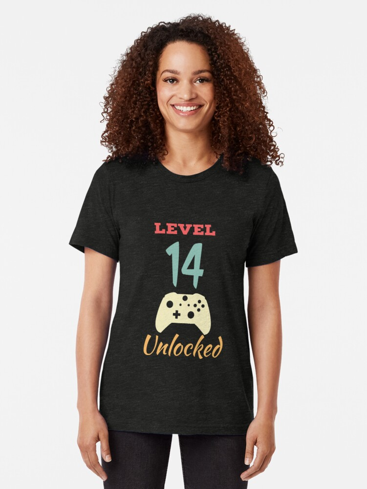 Alternate view of Level 14 Unlocked - 14th vintage Video Games Birthday Gift Tri-blend T-Shirt
