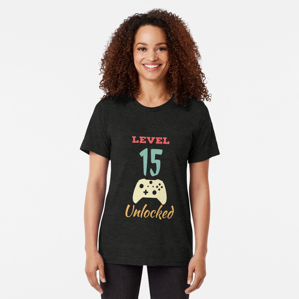 Level 15 Unlocked - 15th vintage Video Games Birthday Gift Tri-blend T-Shirt