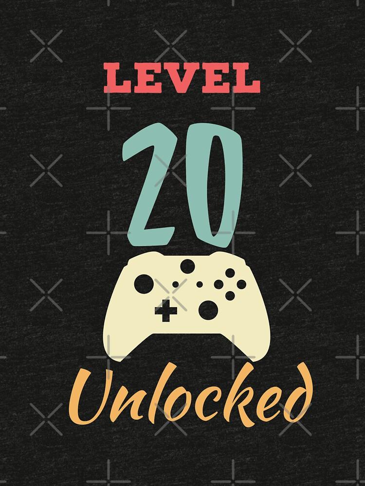 Level 20 Unlocked - 20th vintage Video Games Birthday Gift by karim7