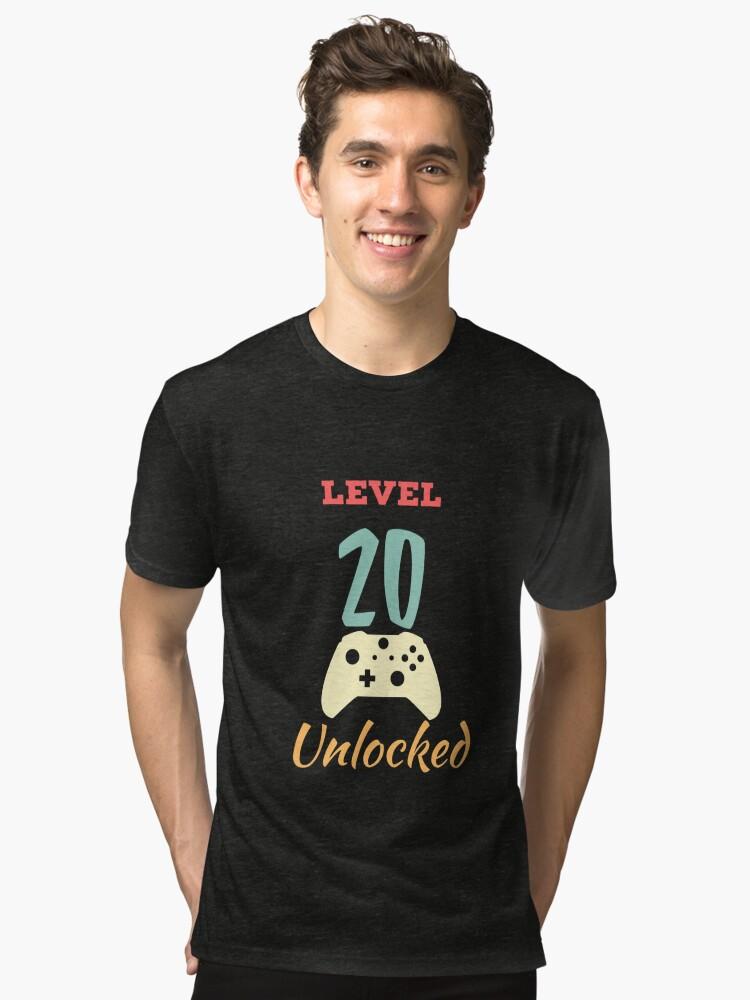 Alternate view of Level 20 Unlocked - 20th vintage Video Games Birthday Gift Tri-blend T-Shirt