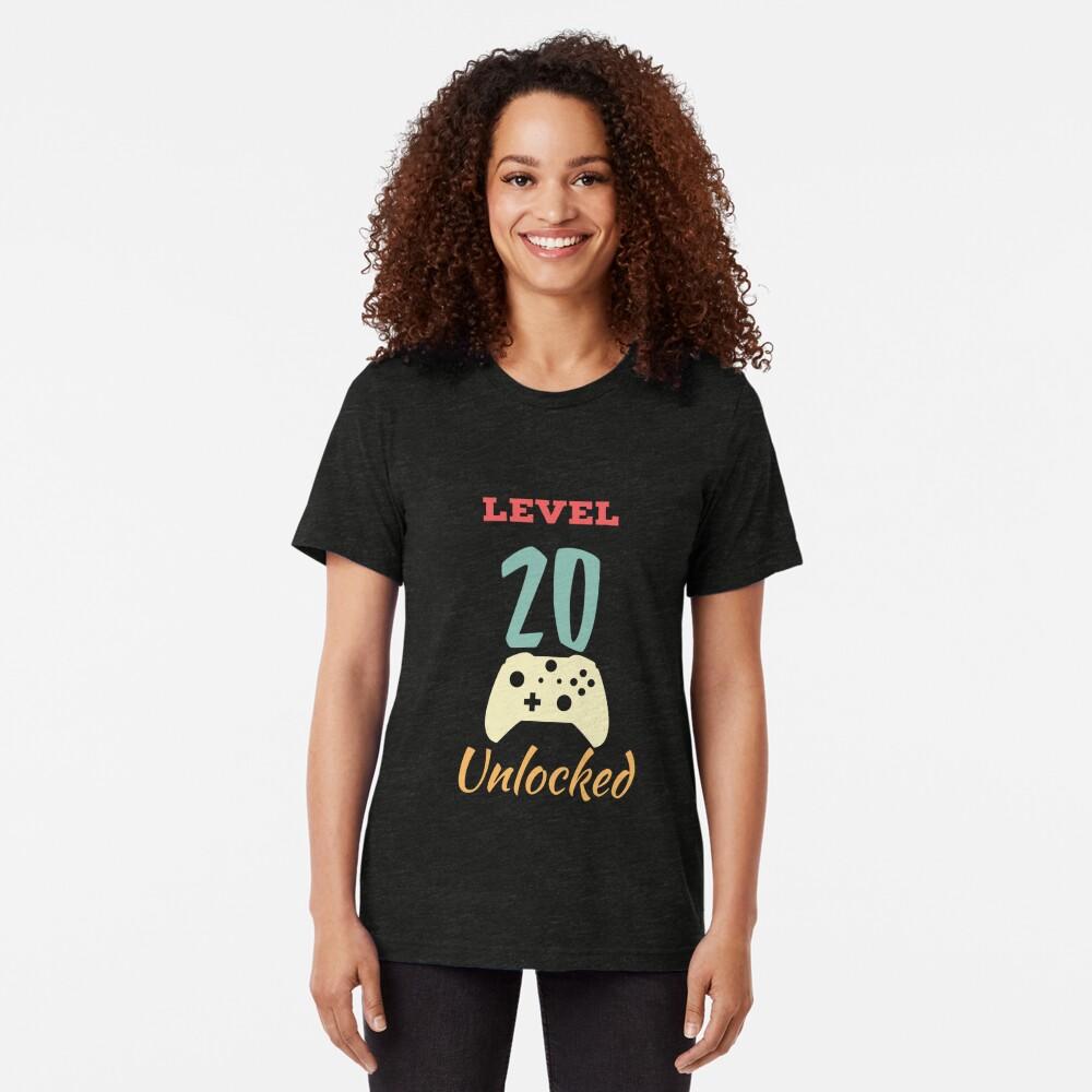 Level 20 Unlocked - 20th vintage Video Games Birthday Gift Tri-blend T-Shirt