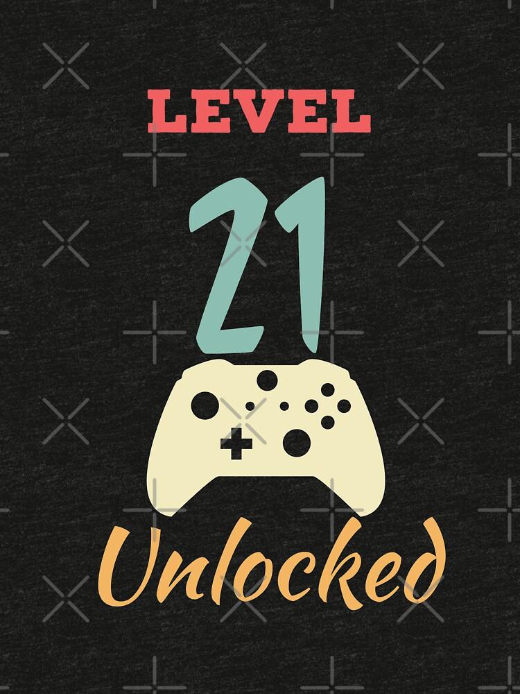 Level 21 Unlocked - 21th vintage Video Games Birthday Gift by karim7