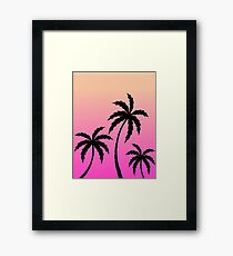 Tropical Palm Trees Ombre Sunset Colors Framed Print