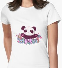 Cute Flowery Panda Womens Fitted T-Shirt