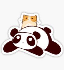 Panda and Tabby Cat Sticker