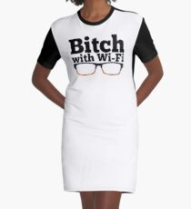Felicity Smoak - Bitch with Wi-Fi - Glasses Version Graphic T-Shirt Dress