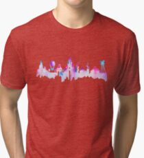 Paris Magic Theme Park Watercolor Skyline Silhouette Tri-blend T-Shirt