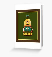 Quirky Retro Wind-up Robot Toy Greeting Card
