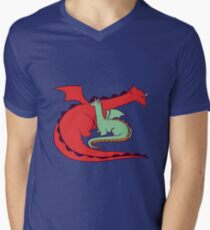 Red and Green Dragon Mens V-Neck T-Shirt