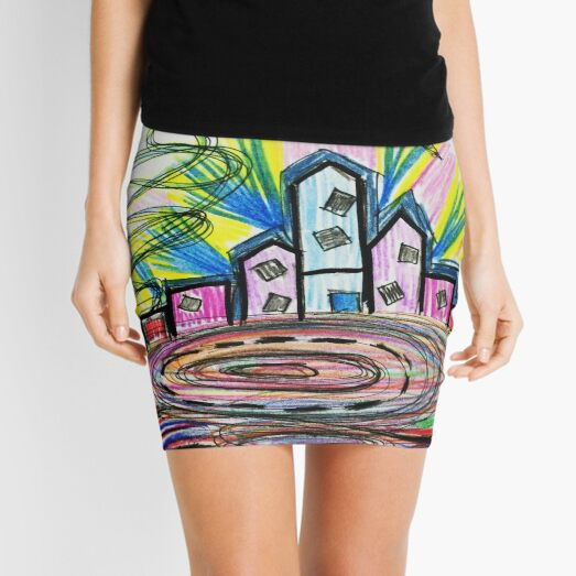 Flying Car City - Abstract Colorful Art  Mini Skirt